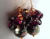 14k Gold Tahitian Black Pearl Earrings
