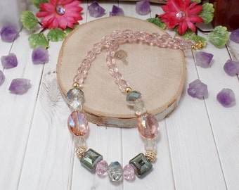 Pastel Boho Chic Necklace - Pink Necklace - OOAK - Statement Necklace