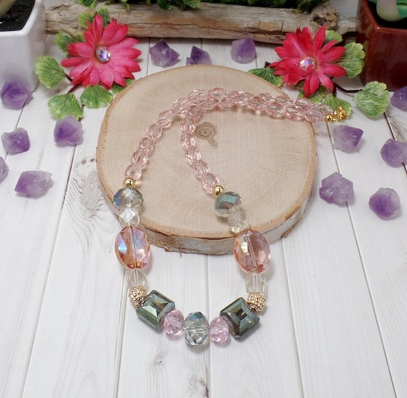 Pastel Boho Chic Necklace - Pink Necklace - OOAK - Statement Necklace - Free US Shipping