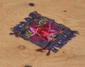 Beautiful Elaborate Vintage 70's Guatemalan Fringe Floral Embroidered Fabric Table Accent Mat Doily
