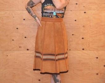 Vintage 70's Suede Patchwork Knit A-line Skirt Maxi SZ Medium