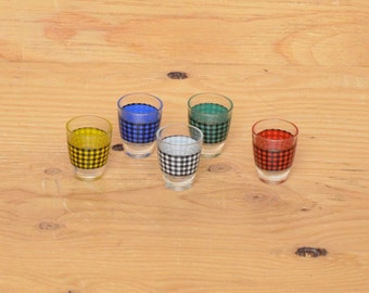 Vintage Set of 5 70s Shot Glasses Checkered Rainbow Pattern