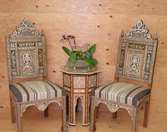Vintage 1950's Syrian Wooden Elaborate Inlayed Bone & Mother Of Pearl Matching Chair Set Unique Detail