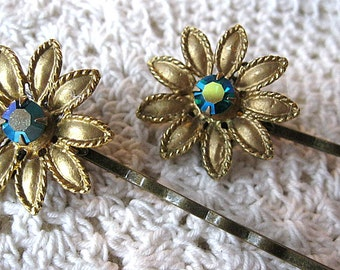 Wedding hair pins, gold flower with blue rhinestone hair pins, vintage hair pins, vintage bobby pins, bridal hair pins, Lily Whitepad