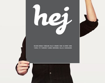 HEJ, Swedish typographic stylish word poster print. Large Size A2, 42 x 59.4 cm