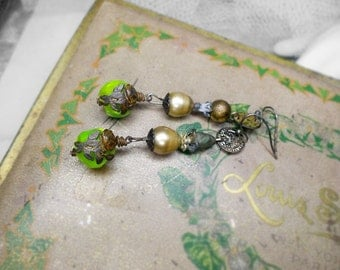 Rustic Assemblage Earrings - Rose Garden Drops - Vintage Sci-fi Green Swirl Rounds, Brass Rose Charms, Coins, Mismatch Metal, Pearls