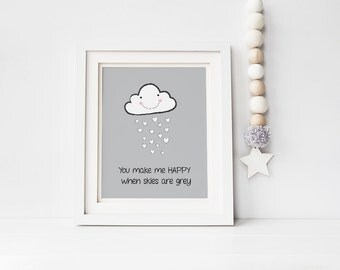 Nursery Wall Art, You Make Me Happy Quote, Black and White printable baby room decor-Boy or Girl