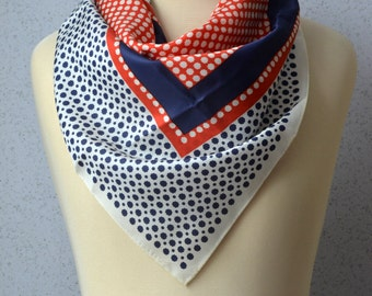 Vintage Square Scarf: Red, White, Blue, Nautical, Medallions, Preppy