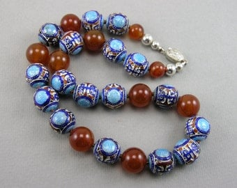 Vintage Chinese Enamel Longevity & Carnelian Gemstone Beads Necklace