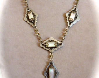 Renaissance Pendant Necklace, Neo-Victorian Style, Repurposed Mother of Pearl Brooches and Chandelier Chain Pieces