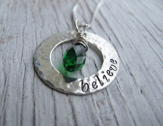Believe Necklace, Inspirational Jewelry, Personalized, Hand Stamped, Sterling Silver, Washer, Birthstone Necklace