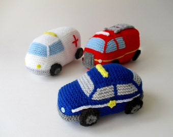 Emergency Vehicles toy knitting patterns