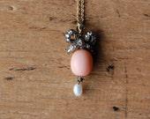 Antique Edwardian coral diamond bow pendant ∙ 1910s 14K coral drop pendant with diamonds