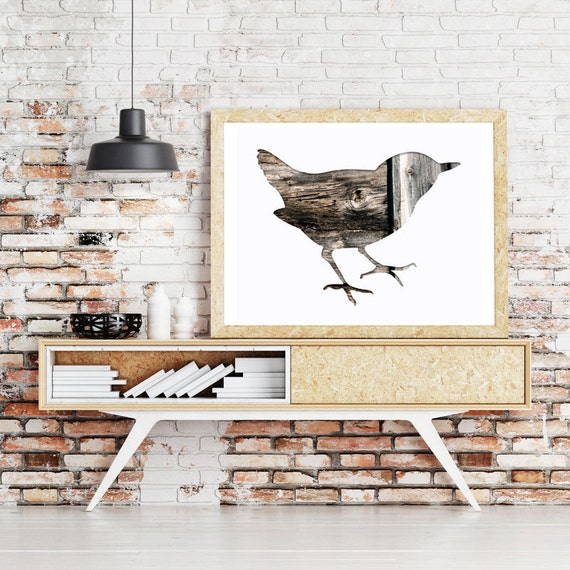sparrow bird silhouette in warm gray, collage photography, 11x14 art print, wood, brown, nursery art, woodland, garden, rustic home decor