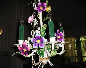 Vintage 4 Arm Colourful Italian Tole Flowery Swag Light/Chandelier Petit Marvel Hanging Cottage chic Light..