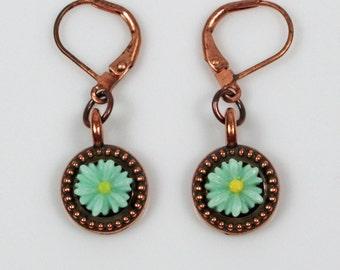 Flower Earrings - Copper Earrings - Nature Earrings - Mint Earrings - Autumn Earrings - Fall Earrings