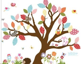ON SALE Childrens Tree Elephant Wall Decal - Girls Nursery Vinyl Wall Decal - Baby Nursery Elephant Wall Art