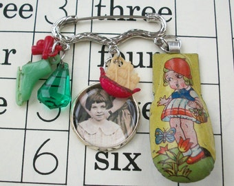Childhood Memories-Assemblage Tin Toys Pin, Cracker Jack Charms, Celluloid Charms, Tin Lithographed Toys