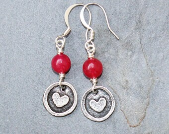 Red Heart Earrings, Red Earrings, Red Glass Earrings, Heart Jewelry,  Love Earrings, Spring Earrings, Handmade Earrings