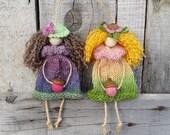 Wood Flower Fairies - Forest Tree Elf Ornament, Wall Nursery Decor, Rug Doll, Fairy Puppet