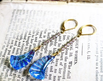 Roaring Twenties , Vintage Iridescent Blue Glass Crescents with Clear Rhinestones Flapper Upcycled Earrings, Hollywood Hillbilly