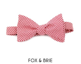 Cherry Gingham Bow Tie