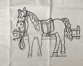 "Color Your Own Pillowcase, Horse, Crisp White Cotton Fabric, Color Me, Never Used, 30"" x 20.25"""