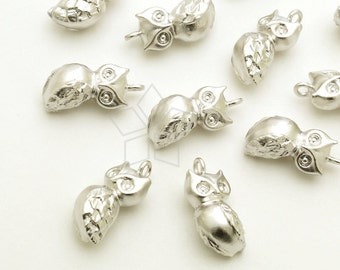 PD-1648-MS / 2 Pcs - Sitting Owl Charms, Sitting Bird Pendant, Matte Silver Plated over Brass / 8mm x 12mm