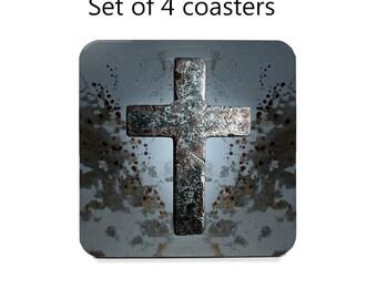 Grunge coaster set, drink coasters, set of 4, rustic cross coasters, wine accessories, cork back coasters, hostess gift, housewarming gift