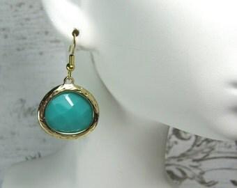 Green dangle earrings, surgical steel, drop, teal, aqua, nickel free earrings, faceted stones, simple jewelry, earrings, gift,  Andesbeads