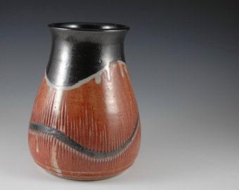 Stoneware Vase / Utensil Holder with Shino Glaze by Douglas Bechler
