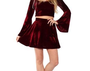 Basics Co-ords Velvet Bell Sleeve Top & Mini Skirt - More Colours Available