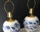 Shards Pottery Lamp Pair / Blue and White Nautical Lamps / Seaside Design