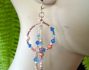 Earrings  swarovski crystals and seed beads