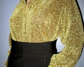 Gold Sparkle Blouse.  Gold Lame Blouse.  Gold Lame Top.  NWT Gold Lame Top.