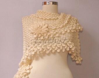 Ivory Shawl, Bridal Shrug Shawl Bolero, Wedding Shawl, Crochet Cover Up, Crochet Lace Shawl, Ecru Loop Shawl, Bridal Accessories