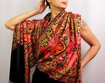 Black Pashmina, Stole, Shawl Wrap, Pashmina Scarf, Bridal Silk Shawl, Multicolor, Pure Silk Embroidery, Floral Shawl, Winter Gift For Her