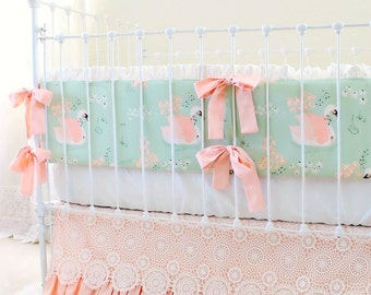 Peach and Mint Crib Bedding Set, Custom Baby Girl Bedding with Swans and Lace for a Unique Nursery Design - Sweet Swan