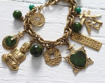 Buddha Charm Bracelet - Signed - Bakelite - Vintage