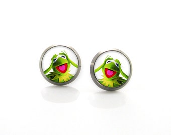 The Muppets Kermit green frog Titanium Post Earrings | Hypoallergenic Sensitive Stud | Titanium Baby Cute Girls Children Animal Earrings