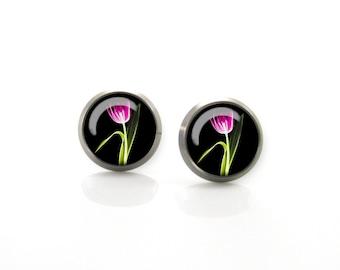 Pink Tulip Flower Titanium Post Earrings | Hypoallergenic Earring Stud | Titanium Earring Stud | Sensitive jewelry post studs