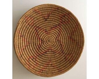 vintage southwestern handwoven coil basket