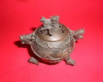 Foo Dog Ball Censer Old Lidded Foo Dog Detail -Lovely Asian Artisan Accent
