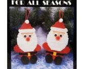 Vintage Plastic Canvas Kit Santa Ornaments, Needlework Kit, Stitching Kit, 90's Craft Kit, Christmas Kit, Dated 1992, Needlecraft Ala Mode