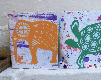 Set of Two Small Blank Journal Notebook Sketchbook - Elephant and Turtle