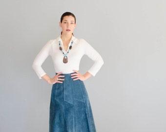 Vintage 1970s Suede Skirt - 70s Skirt - Aegean Sea Skirt