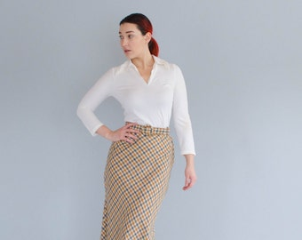 1970s Maxi Skirt - Vintage 70s Plaid Skirt - Be My Girl Skirt