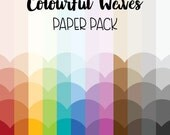Colourful Waves Background Paper Pack - 12 colour themed versatile background for your craft - scrapbooking, party invitation, wall art