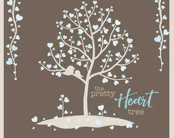 The Winter Heart Tree - Digital Clip Art - Instant Download - Trees, Branches, Vines, and Birds