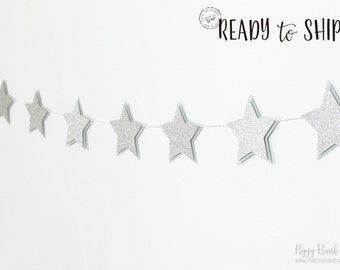 Silver Glitter Star Garland - Large : Handcrafted New Year's Eve Decoration   Hollywood Movie Night   Baby   First Birthday   Sleepover